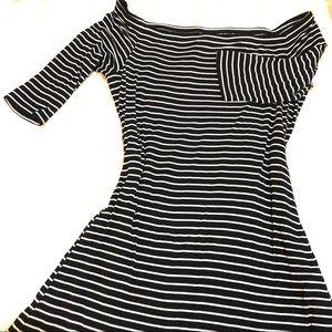 Off the Shoulder Black & White Striped Swing Dress